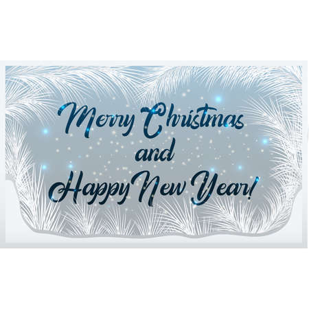 Merry Christmas frosted window, vector Ilustrace