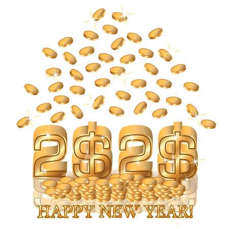 Happy New 2020 year golden dollars, vector illustration