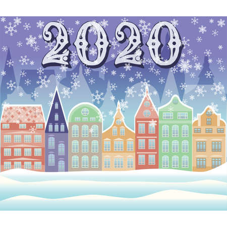 New 2020 year winter city wallpaper, vector illustration Ilustrace