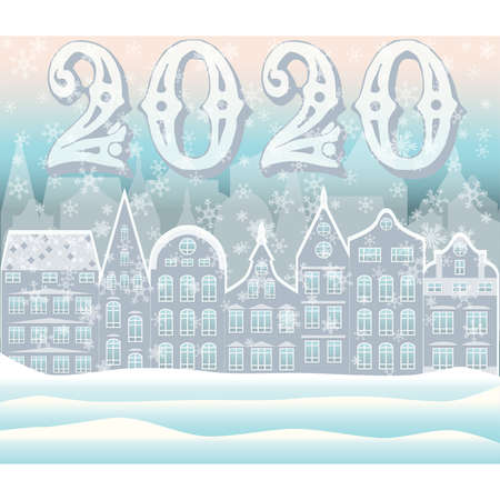 New 2020 year winter city banner vector illustration