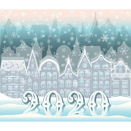 New 2020 year winter city background vector illustration  イラスト・ベクター素材