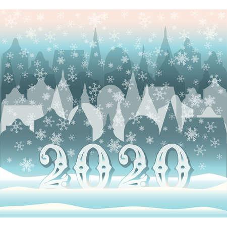 New 2020 year winter city, vector illustration