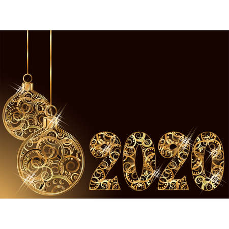Happy new 2020 golden year, xmas balls decoration card, vector illustration Archivio Fotografico - 135494382