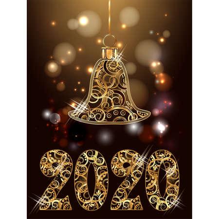 Happy new 2020 golden year, with xmas bells decor card, vector illustration Illusztráció