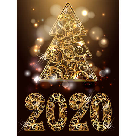 Happy new 2020 golden year, xmas tree card, vector illustration Banque d'images - 135494387