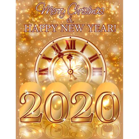 Happy New 2020 year golden card, vector illustration