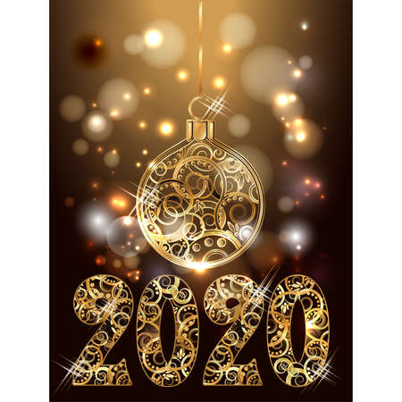Golden new 2020 year decorative card with xmas ball, vector illustration Banque d'images - 135494386