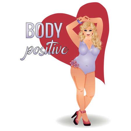 Body positive plus size beautiful girl, vector illustration