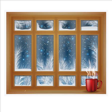 Winter frosted window with coffee, vector illustration