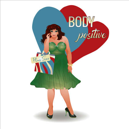 Body positive plus size brunette girl with shopping bags, vector illustration