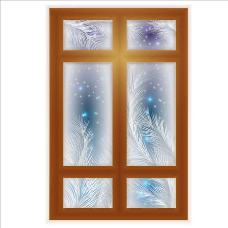 Winter frosted window card, vector illustration  イラスト・ベクター素材