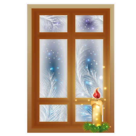 Winter frosted window with candle, vector illustration