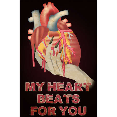 Anti Valentines day card, My heart beats for you. vector illustration Reklamní fotografie - 138471385