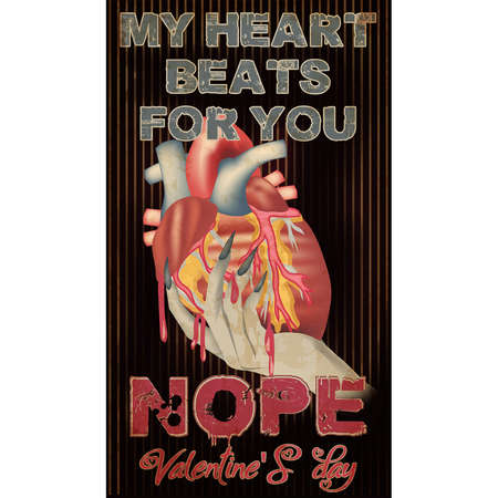 Anti Valentines day banner, My heart beats for you. vector illustration