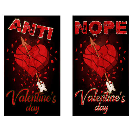 Anti valentines day banners broken heart, vector illustration