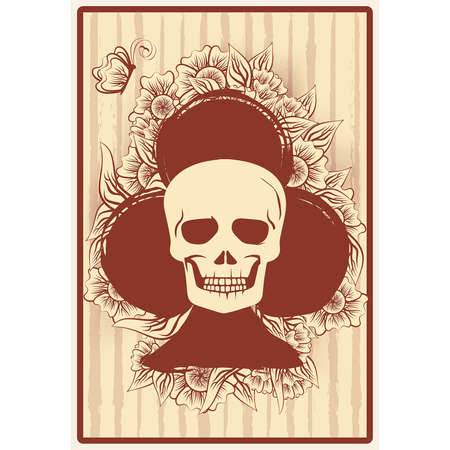 Clubs poker card with skull and flowers, casino wallpaper, vector illustration