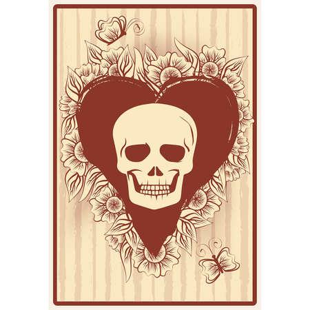 Hearts poker card with skull and flowers, casino wallpaper, vector illustration Vektorové ilustrace