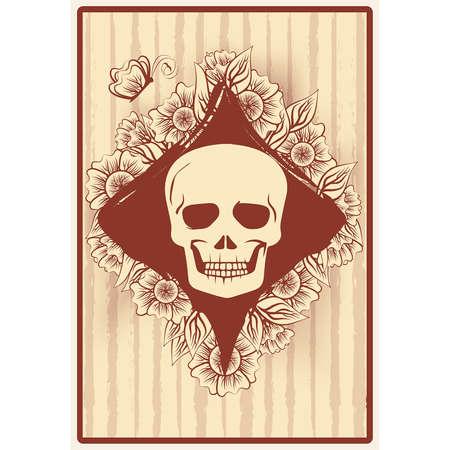 Diamonds poker card with skull and flowers, casino wallpaper, vector illustration