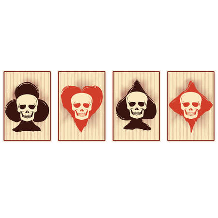 Casino poker cards with skull, vector illustration Vektorové ilustrace