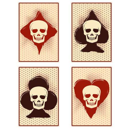 Poker casino cards with skull, vector illustration Vektorové ilustrace
