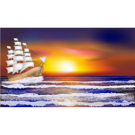Tropical landscape wallpaper with sailboat, vector illustration Illustration