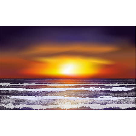 Tropical landscape ocean wallpapert, vector illustration
