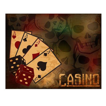 Casino poker cards wallpaper, vector illustration
