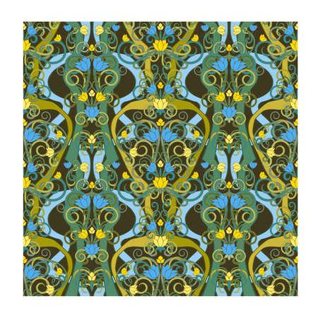 Floral art nouveau seamless pattern, vector illustration