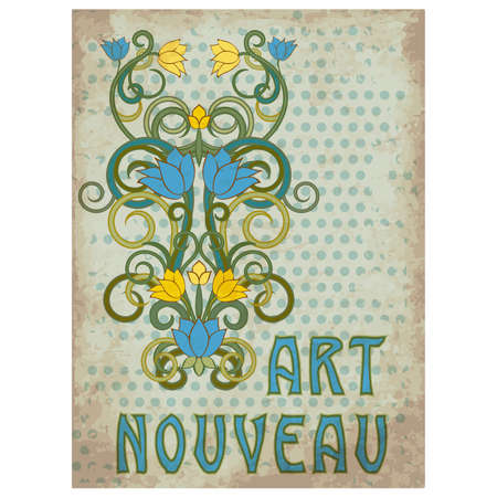 Old floral ornate in art nouveau style, greeting card, vector illustration Çizim