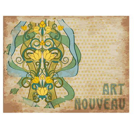 Vintage floral decor in art nouveau style, greeting card, vector illustration Çizim