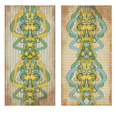 Vintage floral banners in art nouveau style, vector illustration Çizim