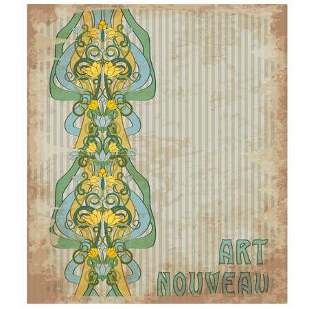 Floral decor in art nouveau style , vector illustration