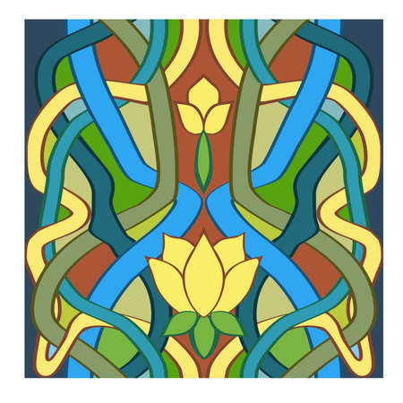 Vintage floral art nouveau style, seamless background, vector illustration