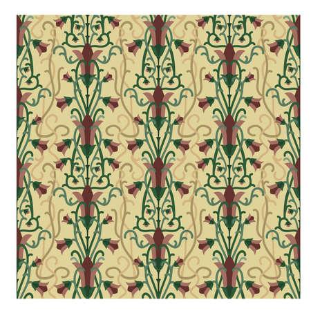 Vintage floral seamless art nouveau style wallpaper, vector illustration