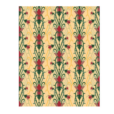 Old floral seamless pattern in art nouveau style, vector illustration