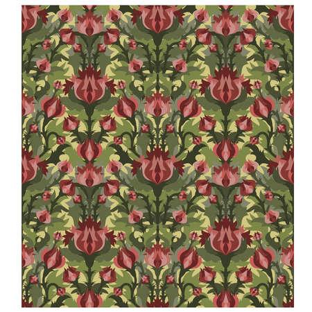 Vintage floral seamless pattern in art nouveau style, vector illustration