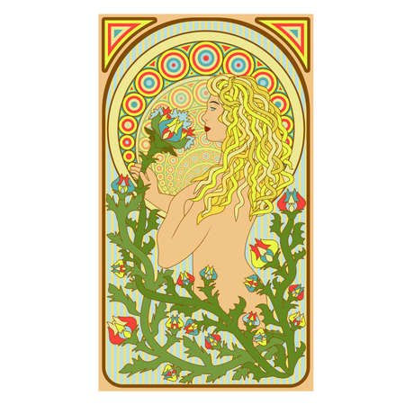 Art nouveau woman floral card, vector illustration