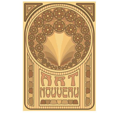 Old art nouveau card, vector illustration