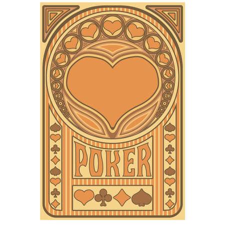 Vintage Heart ace poker playing art nouveau cards, vector illustration