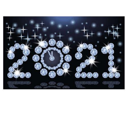 Luxury new 2021 year with diamond clock, vector illustration Vector Illustration