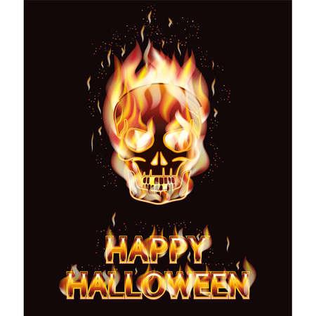 Skull fire Halloween day, greeting card, vector illustration