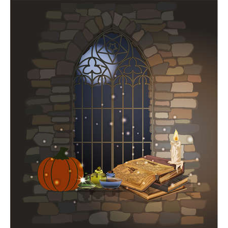 Happy Halloween card. Gothic window with magic book, pumpkin and glass jar. vector illustration