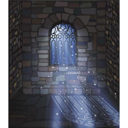 Magic moonlight wallpaper. Ornate gothic window a stone house. vector illustration