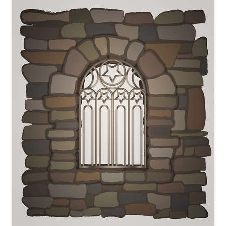Old gothic window a stone wall. vector illustration