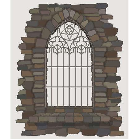 Ornate gothic window a stone wall. vector illustration Illusztráció