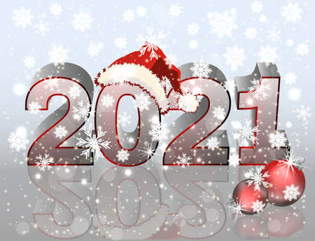 Happy new 2021 year banner with xmas hat, vector illustration