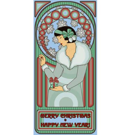 Art Nouveau Santa girl card Happy New year, vector illustration