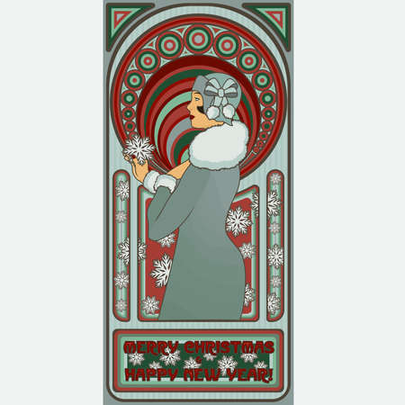 Art Nouveau Santa girl new year card, vector illustration Stock Illustratie