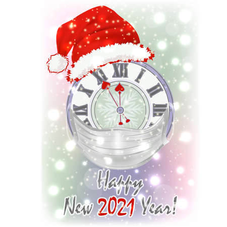 Happy New 2021 year xmas clock card, vector illustration