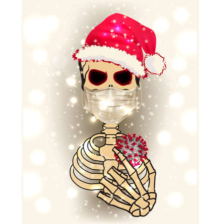 Human skeleton with medical mask and coronavirus covid-19 vector illustration